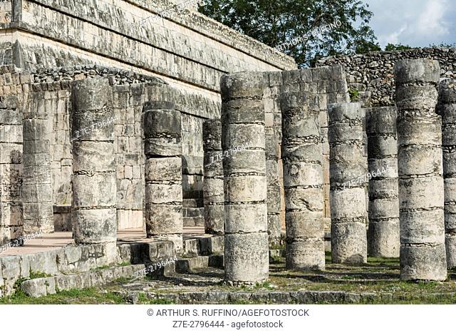 Columns, Temple of the Warriors (Templo de los Guerreros), Chichen Itza, Mayan archaeological site, UNESCO World Heritage Site, Yucatan State, Mexico