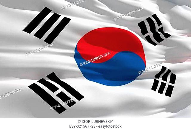 Waving flag of South Korea