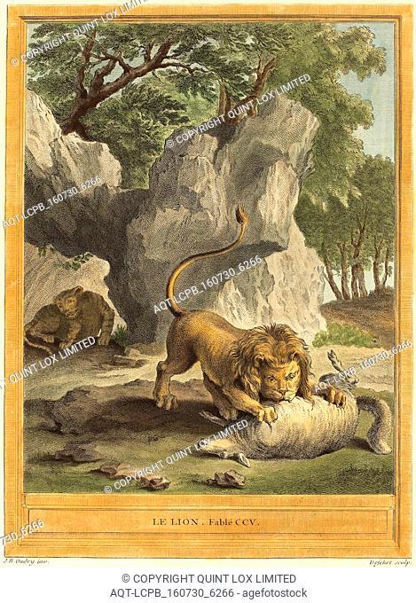 A.-J. de Fehrt after Jean-Baptiste Oudry (French, born 1723), Le lion (The Lion), published 1759, hand-colored etching