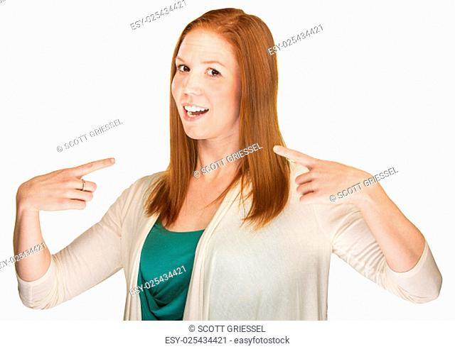 Young adult white female pointing fingers at herself