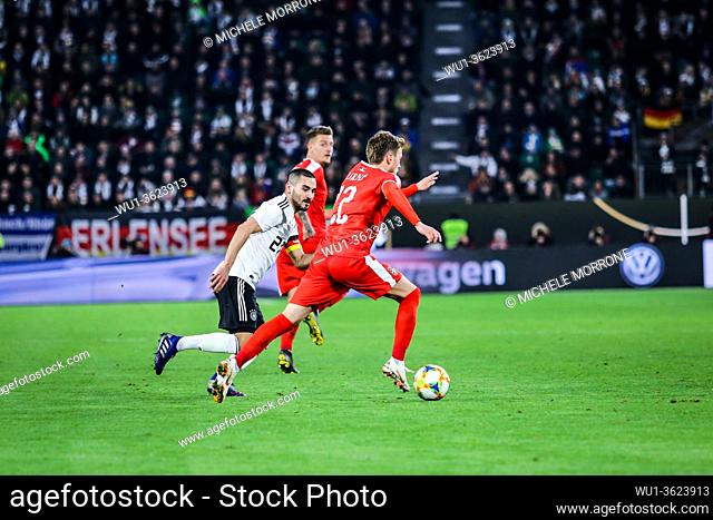 Wolfsburg, Germany, March 20, 2019: Serbian soccer player Adem Ljajic runs with the ball during the international soccer game Germany vs Serbia at Volkswagen...
