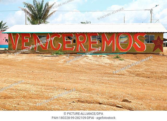 27 January 2018, Colombia, Agua Bonita: A building at the model village Agua Bonita. For decades the leftist guerrilla organisation Farc fought against the...