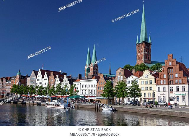 St. Peter's Church with Obertrave, Hanseatic town Lübeck, Schleswig - Holstein, Germany