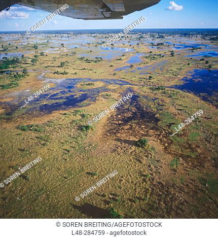 Okavango Delta seen from a small plane. Botswana