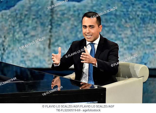 Italian Minister of Industry and Labor, Deputy Premier Luigi Di Maio during the tv show Che tempo che fa, Milan, ITALY-19--05-2019