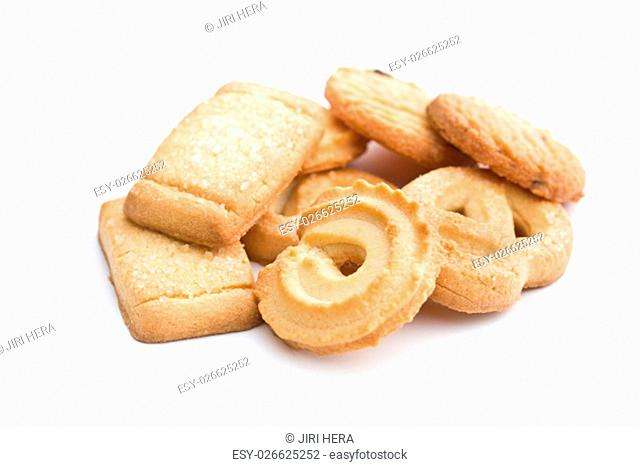 Sweet butter biscuits. Cookies isolated on white background