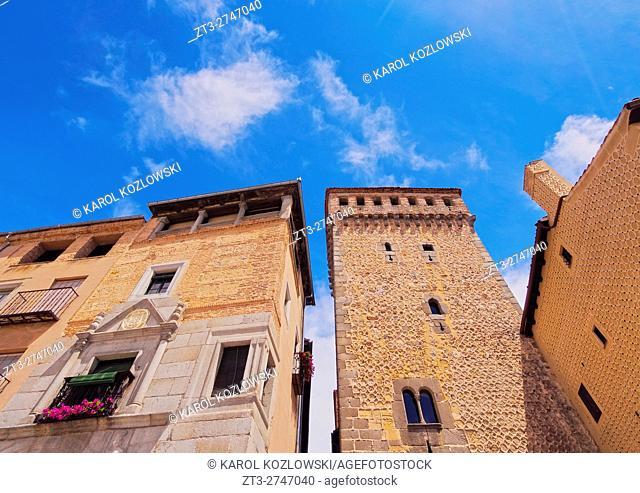 Spain, Castile and Leon, Segovia, View of the Torreon de Lozoya on the Medina del Campo Square.