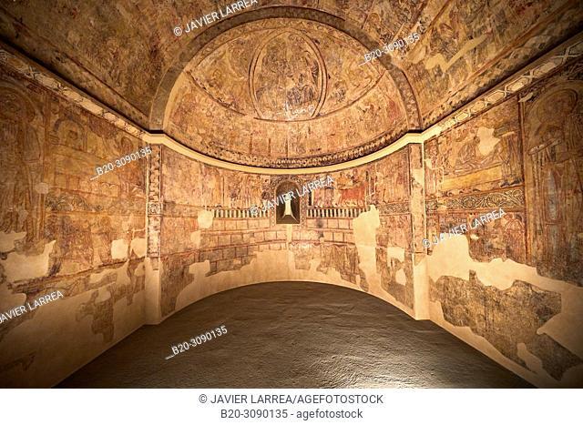 Mural paintings. Ermita de Nuestra Señora del Rosario en Osia (Huesca), Diocesan Museum of Jaca, Museo Diocesano de Jaca, Jaca, Huesca province, Aragón, Spain