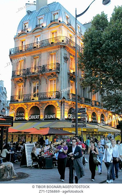 France, Paris, Boulevard St Michel, people, bookshop, street scene