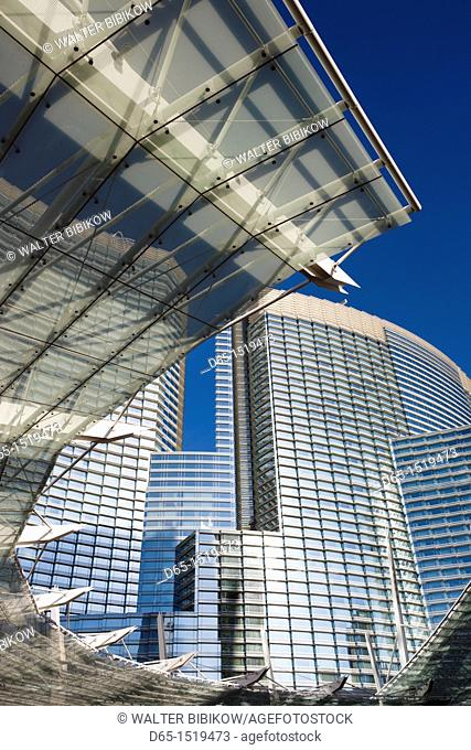 USA, Nevada, Las Vegas, CityCenter, glass awning detail