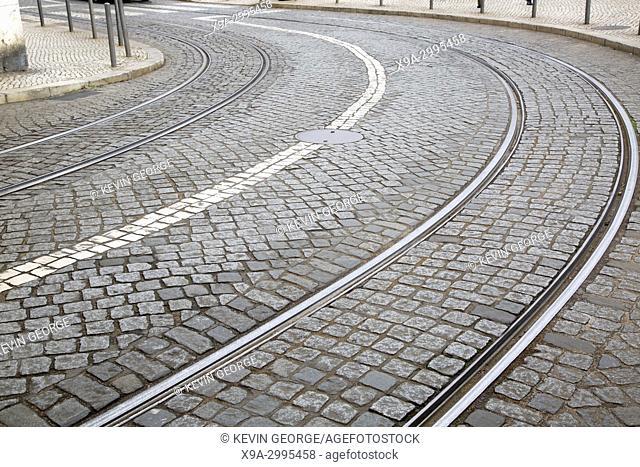 Curve on Tram Track; Lisbon; Portugal;