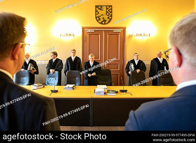 19 February 2020, Thuringia, Weimar: The members of the Thuringian Constitutional Court are hearing the case of former non-attached member of the state...