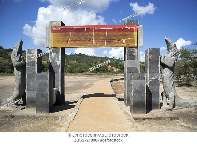 Entrance gate of Rinca Island, Indonesia. Rinca, also known as Rincah and Rindja, is a small island near Komodo island, East Nusa Tenggara, Indonesia