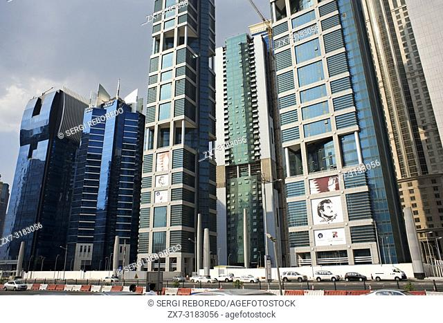 Dolphin Energy's tower and others skyscrapers in the financial area of Doha, the capital of Qatar in the Arabian Gulf country