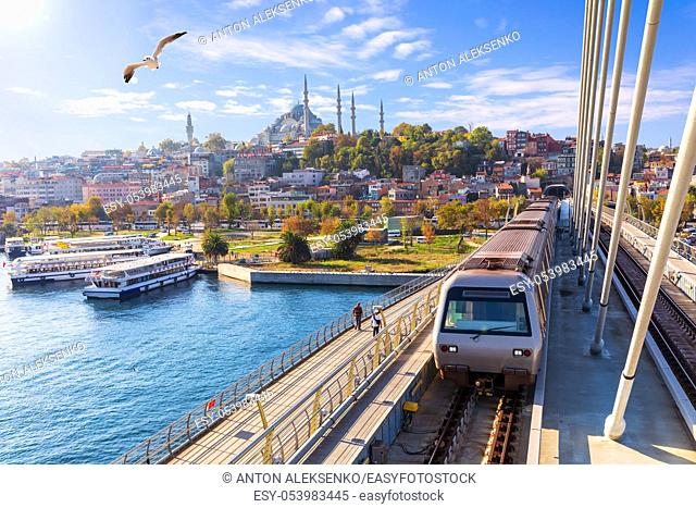 Halic metro bridge and view on the Suleymaniye Mosque, Istanbul