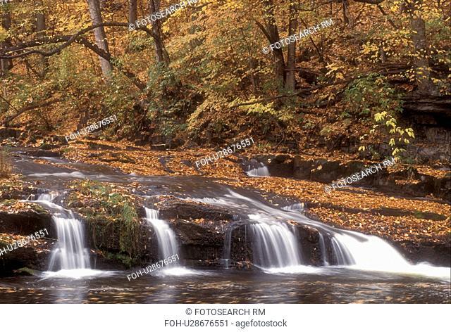 waterfall, fall, North Bennington, VT, Vermont, A small waterfall flows down Paran Creek in North Bennington in autumn