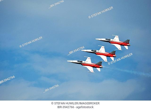 Formation flight of the Patrouille Suisse with the Northrop F-5E Tiger II, Lake Festival 2014, Canton Zug, Switzerland