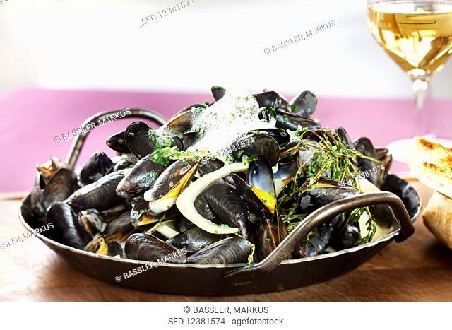 Steamed mussels in garlic sauce