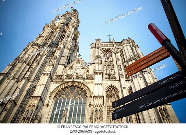 A rare view of Cathedral of Our Lady. Antwerpen, Belgium