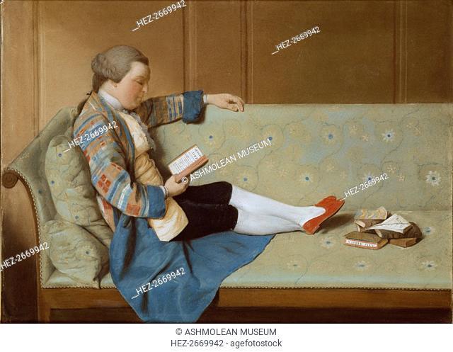 Portrait of a Man reclining on a Sofa, reading, mid 18th century. Artist: Francois Xavier Vispre