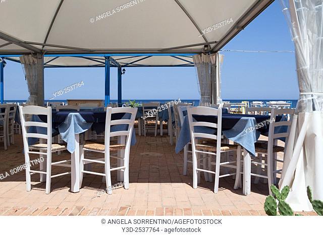 Restaurant on sea in Marzamemi, Sicily