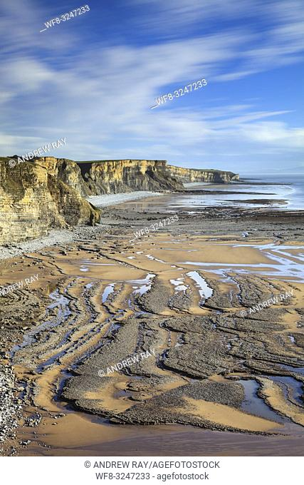 The Glamorgan Heritage Coast in South Wales captured from the South Wales Coast Path, near Dunraven Park