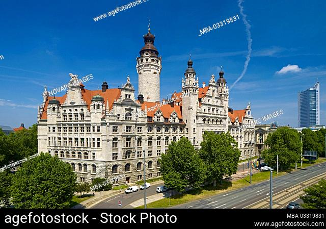 New town hall and city tower in Leipzig, Saxony, Germany