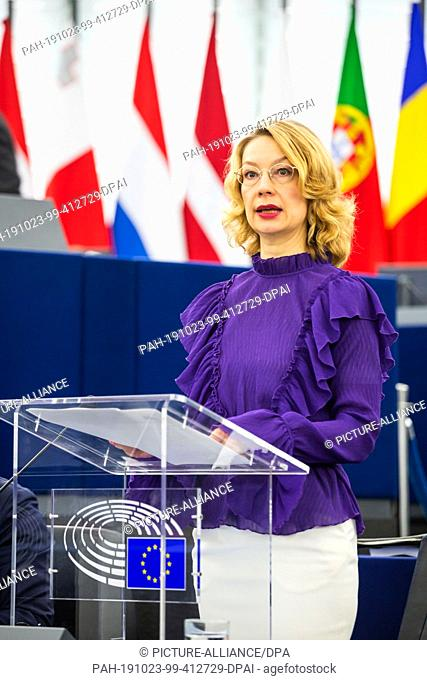 23 October 2019, France (France), Straßburg: Tytti Tuppurainen, from the Group of the Party of European Socialists (PES|PSE)