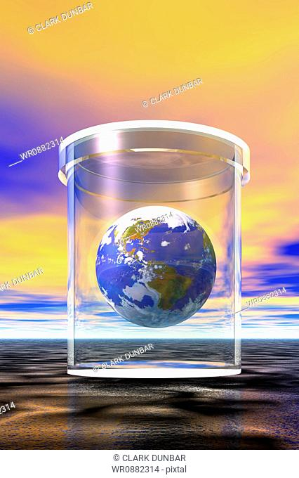 Close-up of a globe in a jar