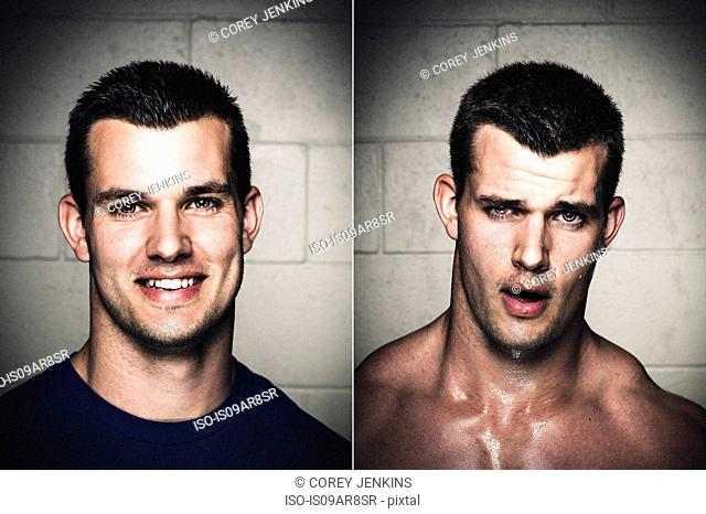 Portraits of young man before and after workout