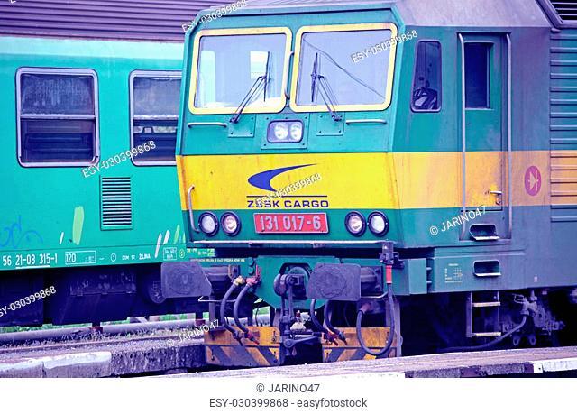 RUZOMBEROK, SLOVAKIA - APRIL 25: Old locomotive at train station on April 25, 2014 in Ruzomberok