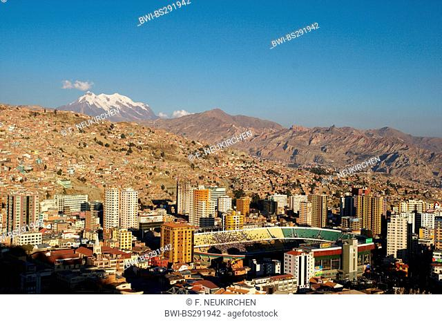 fottball stadium in La Paz, Illimani in the background, Bolivia, Andes