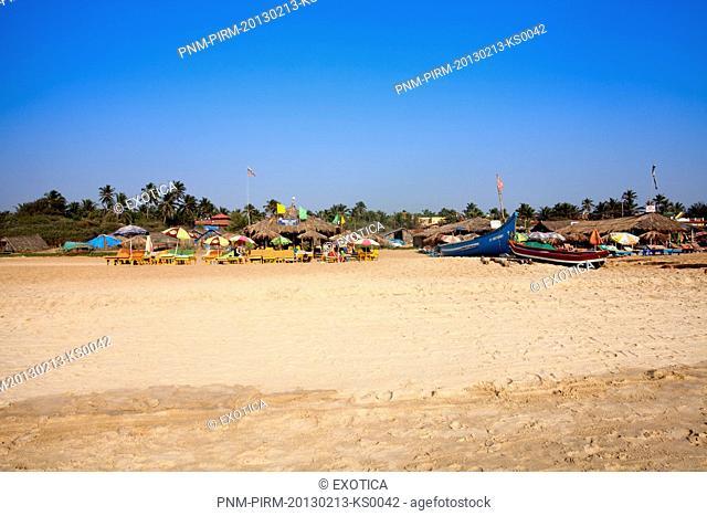 Tourist resorts on the beach, Calangute Beach, Calangute, North Goa, Goa, India