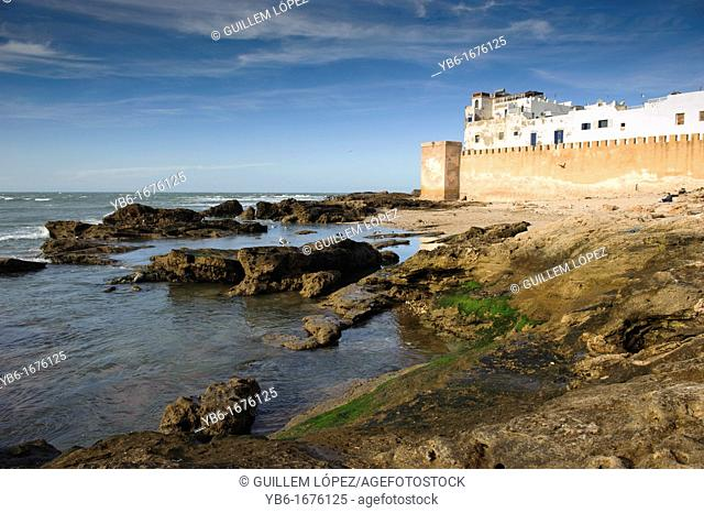 View of the Essaouira fortified city walls, Morocco