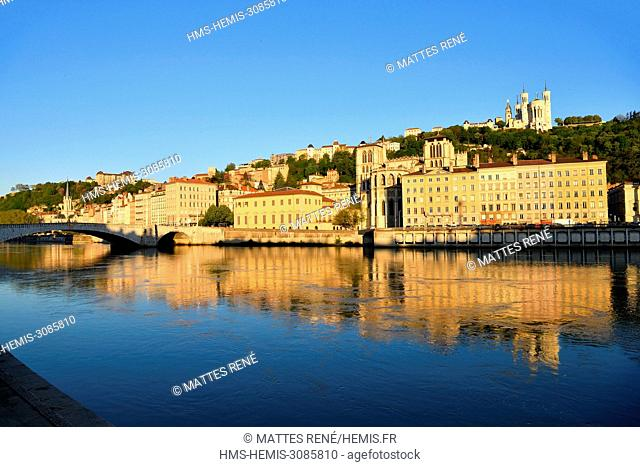 France, Rhone, Lyon, historical site listed as World Heritage by UNESCO, Old Lyon, River Saone banks, Saint Jean Cathedral and the Basilica Notre Dame de...