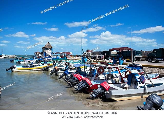 Mexico March 20 2017 the bay with fishing boats, harbor landscape