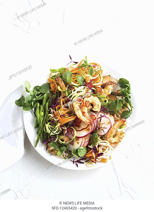 Prawn and herb noodle salad with spicy lime dressing (Low Carb)