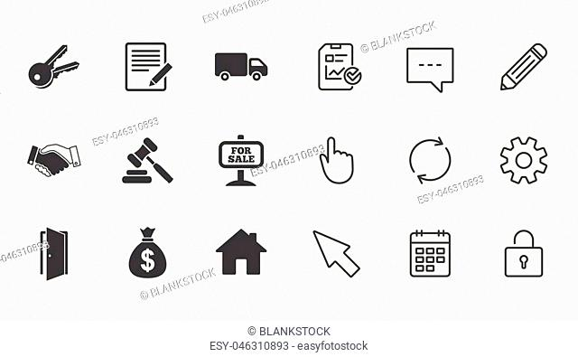 Real estate, auction icons. Handshake, for sale and money bag signs. Keys, delivery truck and door symbols. Chat, Report and Calendar line signs