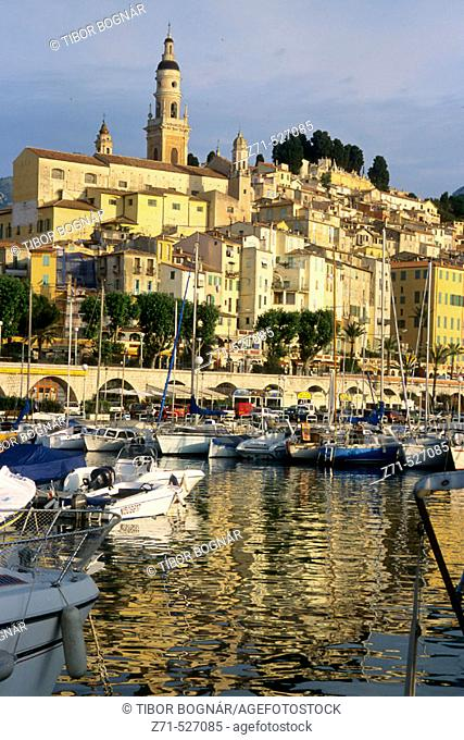 Menton, harbour, general view. Côte d'Azur. France