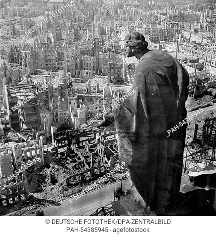 The photo by famous photographer Richard Peter sen, shows the view from the tower of the city hall (Rathaus) southwards over the destroyed city of Dresden with...