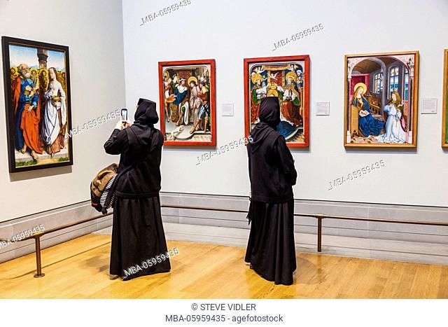 England, London, Trafalgar Square, National Gallery, Visiting Orthodox Nun Taking Photo of Paintings