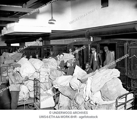 Chicago, Illinois: December 18, 1929.Workers at the Van Buren Post Office in Chicago, regarded as the busiest office in the world