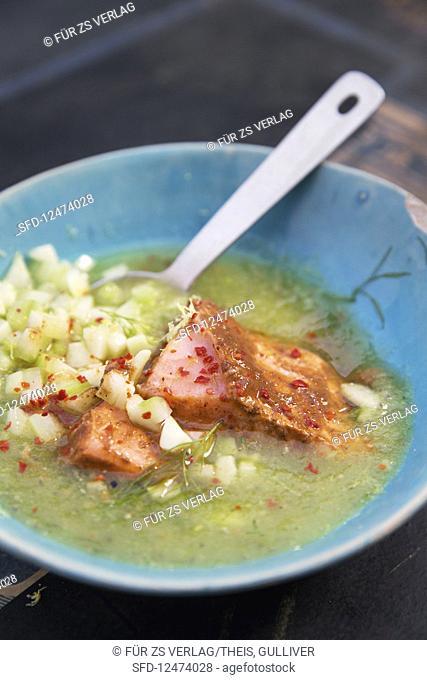 Cold cucumber soup with tandoori salmon