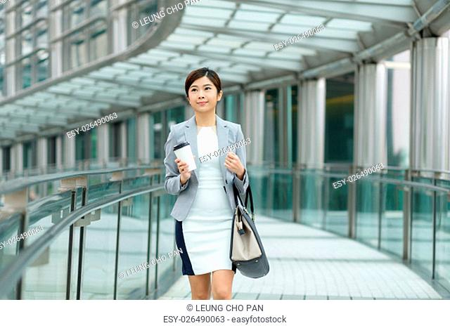 Businesswoman leaving office