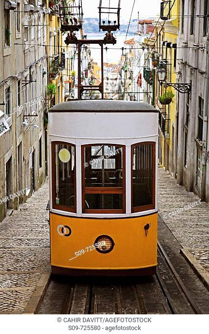 Funicular tramcar in Lisbon, Portugal