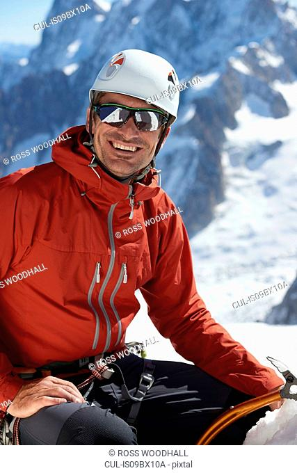 Portrait of mountain climber, Chamonix, Rhone-Alps, France