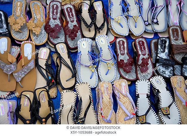 Shoes for sell in the town of Bhaktapur near Kathmandu Nepal
