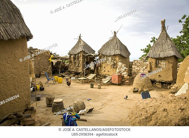 Mali. Dogon Country. Begnimato village. Barns erected with wood and adobe. Animal skulls and skins hang from their walls