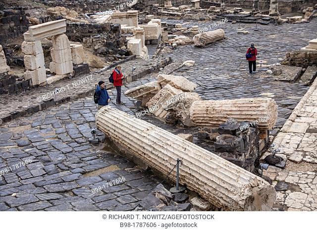 Roman remains showing earthquake damage of the ancient city of Beit Shean in the Jordan Valley