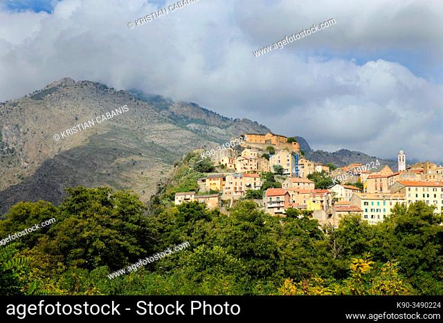 City of Corte with the fortress during sunny weather, Corsica, France, Europe